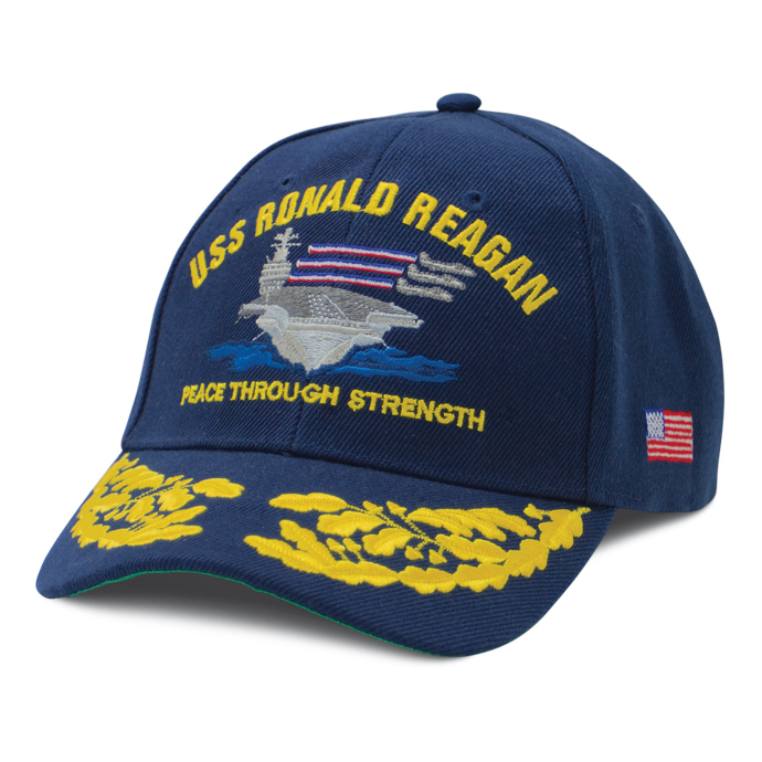 USS Ronald Reagan CVN 76 Commissioning Cap with Gold Leaf