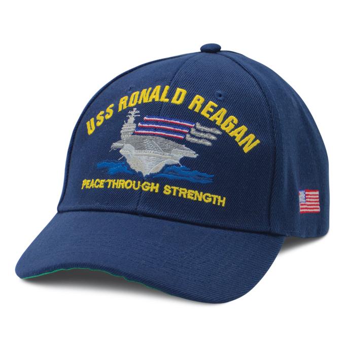 USS Ronald Reagan CVN-76 Embroidered Stars /& Stripes Baseball Cap Hat