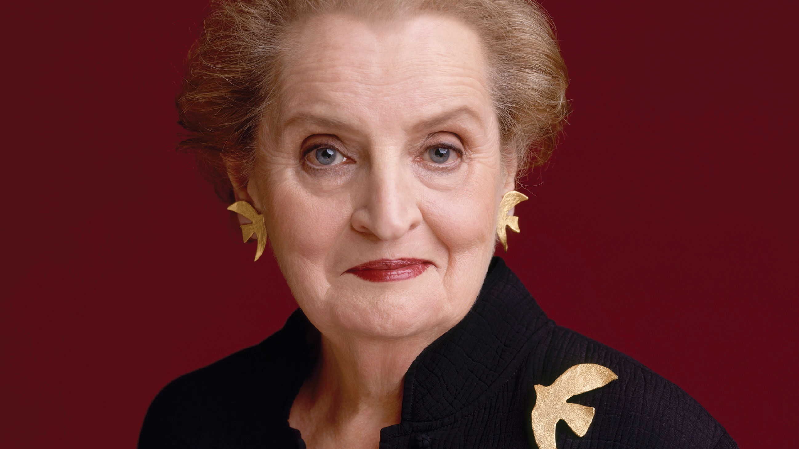 Madeline Albright wearing her Peace Dove, Cecile et Jeanne